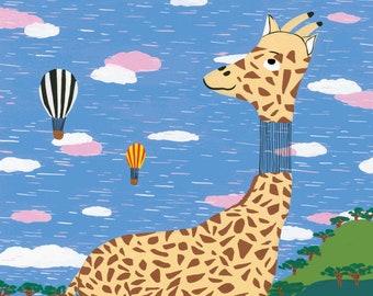 The head-in-the-air giraffe - Print (format A3) of a gouache illustration