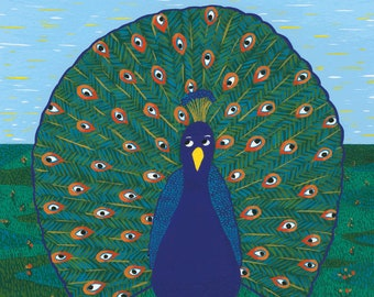 The Observer Peacock - Print (format A3) of a gouache illustration