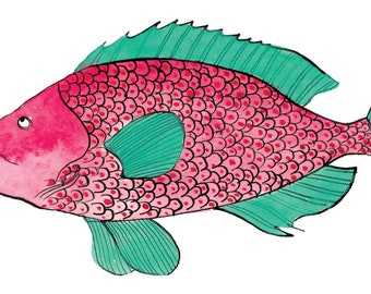 Water Green Fish - Print (A5 format) of a watercolor illustration