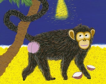 The Clever Monkey - Print (format A3) of a gouache illustration