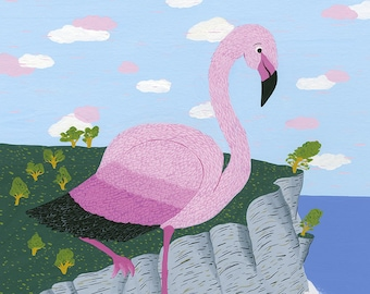 The balanced pink flamingo - Print (format A3) of a gouache illustration