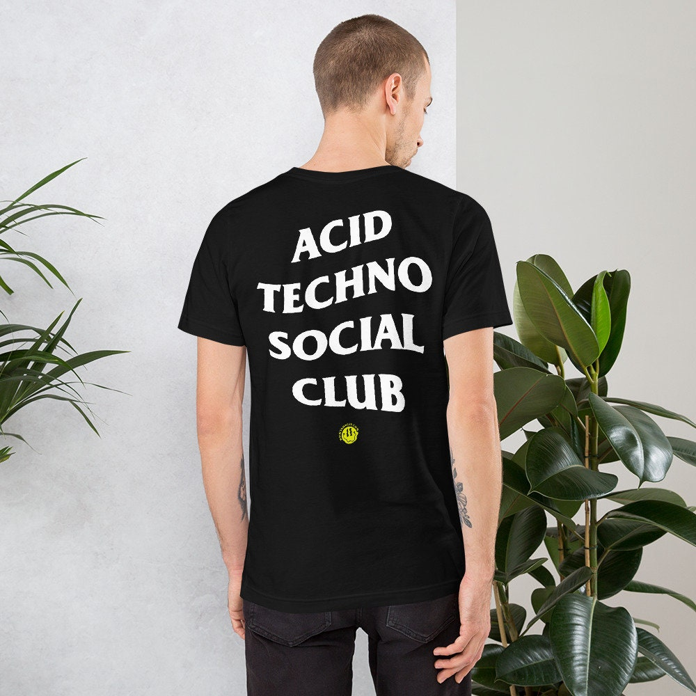 Blanc homme acide visage santa t-shirt cadeau de noël techno rave t shirt