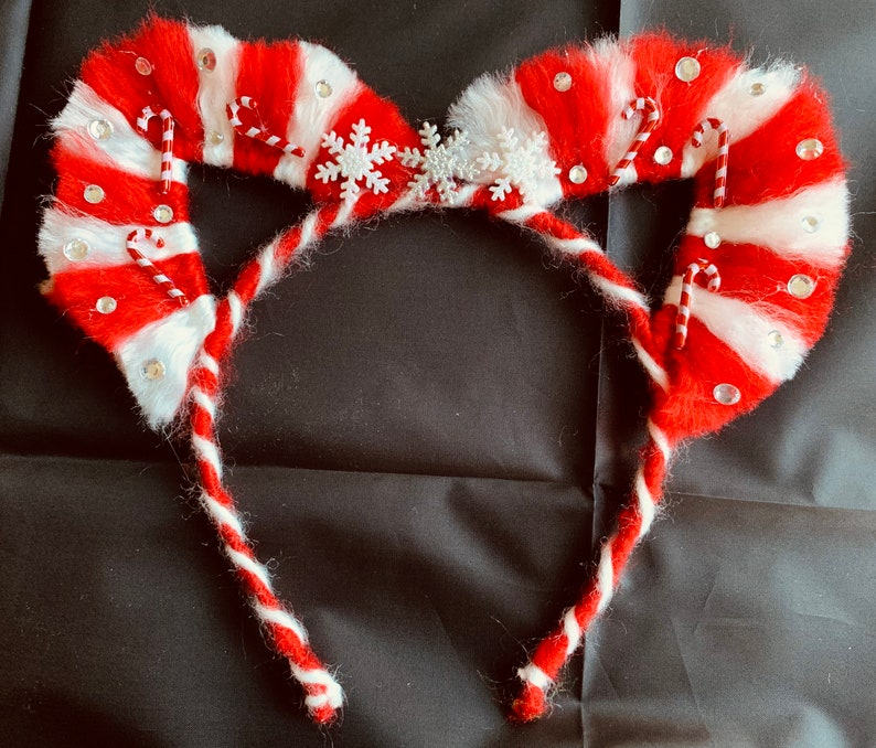 candy cane cat ears red and white stripes holiday Christmas