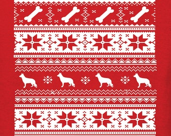 Ugly Christmas Sweater Shirt   German Shepherd Lover   Free Shipping   Cute Funny Comfy   Crew Neck   S+5400L