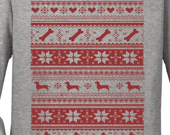 Ugly Christmas Sweater Shirt   Dachshund Lover   Free Shipping   Cute Funny Comfy   Crew Neck   S+5400L