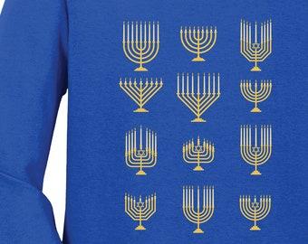 Menorah Menagerie Shirt   Holiday List   Free Shipping   Get Lit   Hannukah Festival of Lights   Crew Neck   S+5400L