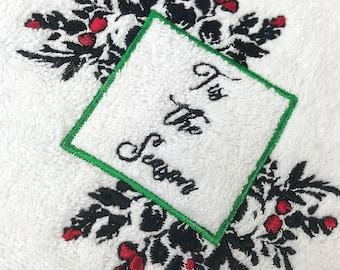 Tis The Season Embroidered Turkish Towels   Free Shipping   Home Spa   Holiday Gift   100% Cotton   Holiday Decor   Christmas Festive