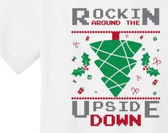 Rockin Around T-shirt   The Upside Down   Free Shipping   Stranger Christmas   UNISEX Graphic Tee   Round Neck Tee   S+PC54