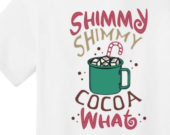 Shimmy Shimmy Holiday T-shirt   Free Shipping   Peppermint Hot Cocoa   Candycane UNISEX Graphic Tee   Round Neck Tee   S+PC54
