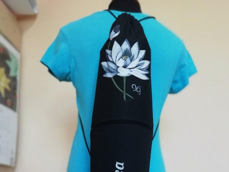 Hand painted yoga mat bag with lotus. Yoga mat bag for men & image 0