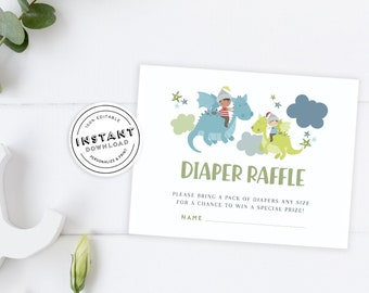 Gender neutral Mother of Dragon Shower Invite template in green and purple Cute Dragon Baby Shower self editing invitation