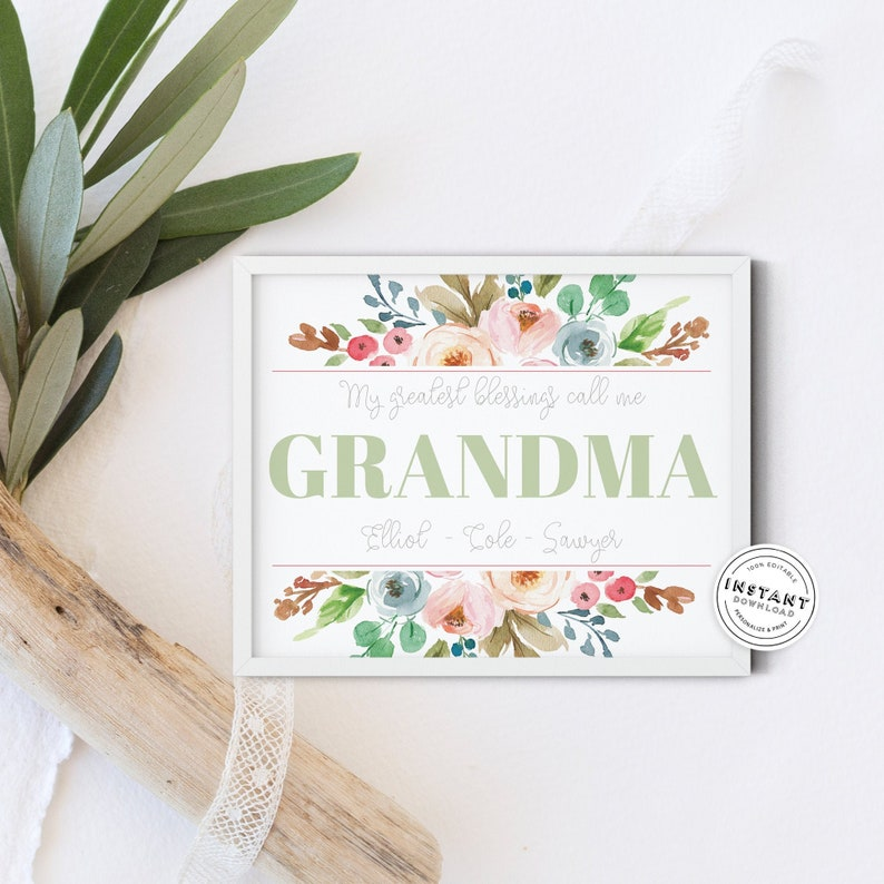 Grandma Mother's Day Gift Printable Download Grandmother ...