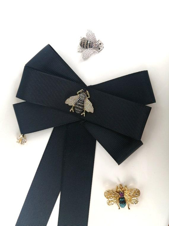 Black bow brooch pin Beaded brooch Ribbon brooch Art glass brooch Sparkle brooch Costume pin Black Friday 2020 Vintage brooch Cyber Monday