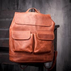 Piel De Vaca women/'s black pebble leather backpack with organizer