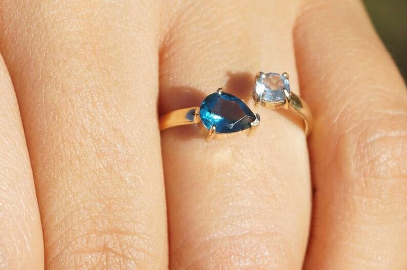 Adjustable.Handmade AAA Blue topaz Luxury Collection 18k  750 mls Gold RING