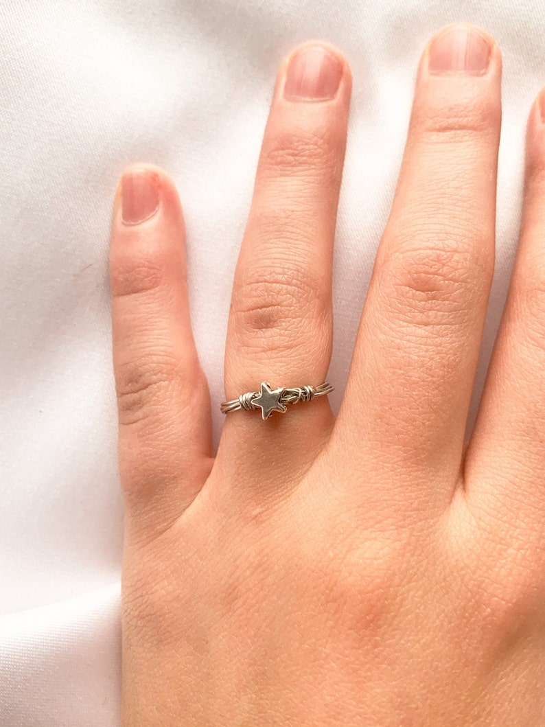 Silver Metal Star Bead Wire Wrapped Ring