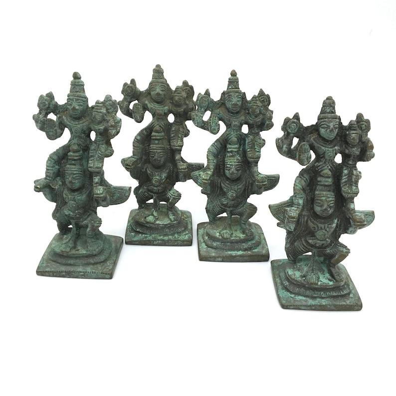 Antique Brass Garuda Carrying Lord Vishnu and Lakshmi on His Shoulder Statues