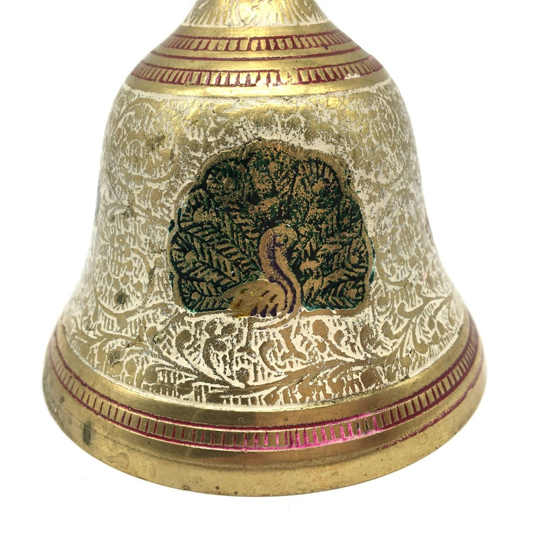 Puja Bell Brass Temple Colorful Ghanta Bell Mandir Home Aarti India Handcrafted