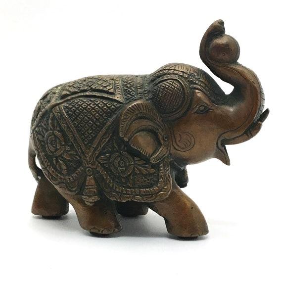 Rare Brass Royal Elephant Handmade Trunk Up Good Luck Statue Figurine Sculpture