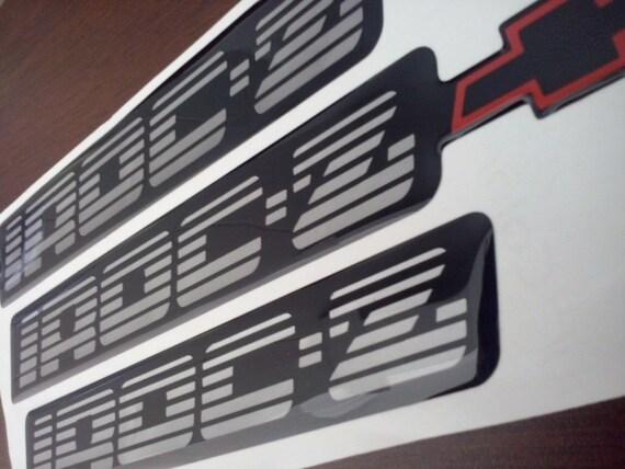 82-92 NEW Camaro IROC-Z Metallic gray /& black Emblem Set of 3