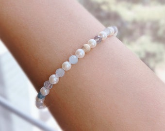 8 Inches In Length Sterling Silver Multi-Gemstone /& Freshwater Pearl Bracelet Oceanic Double Strand