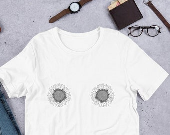 827a76504 Sunflower Boobs T-shirt ,Trendy Fall T-Shirt, Cute Sunflower Graphic Shirt  Funny Boobs Shirt ,Short-Sleeve Unisex T-Shirt