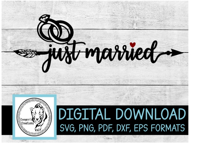 Just Married SVG Cricut and Cameo Cutting Machine Ready Digital Download
