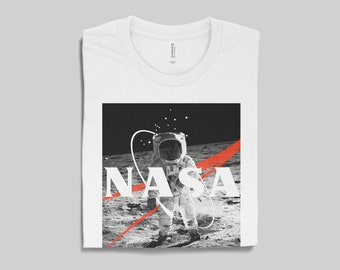 1ac3789f Unisex NASA T-Shirt in White for Men & Women, NASA Shirt, Space Shirts, Nasa  Space Tees, Aesthetic Clothing, Astronaut, Gold, Soft Cream Tee
