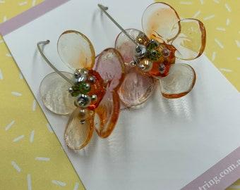 Glass Flower Earrings   Handblown Glass Earrings   Beaded Accents   Lightweight Earrings   Perfect Gift Idea   Hoop Earrings
