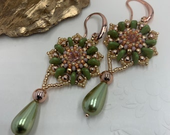 Earring Tutorial   Triangle Beads and Seed Beads   Learn to Bead Pattern   DIY Beaded Earrings   PDF Digital Download