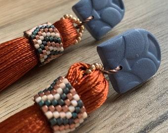 Rust Coloured Tassel Statement Earrings   Beaded Accents   Polymer Clay Stud Tops   Denim Blue Earrings