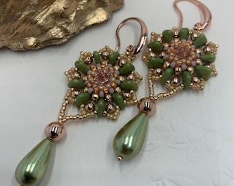 Cactus Flower Earrings   Beadwoven Earrings   Dangle Earrings   Gift for a Friend   Gift for Mum   Anniversary Gift Idea   Beaded Earrings