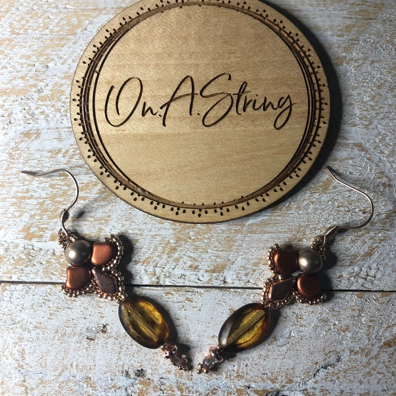 Kite Shaped Beads Petite and Pretty Bronze Earrings Rose Gold Gingko Shaped Beads Perfect Birthday Gift