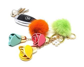 Rainbow Keychain Pompom Bridesmaid Gift Ideas Car Key Accessories Purse Charm Birthday For Women Under 40 Gifts 50