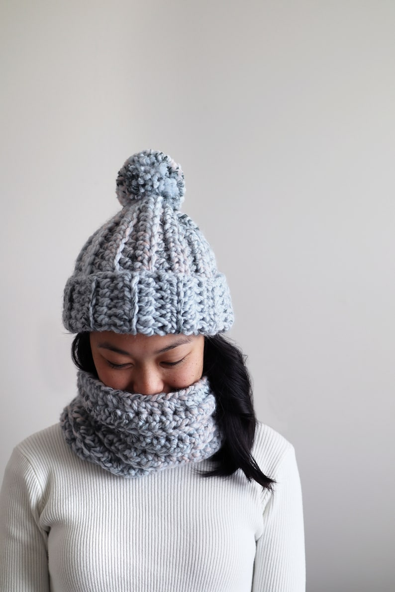 Chunky Crochet Scarf and Beanie Pattern  Arctic Ice Set quick image 0