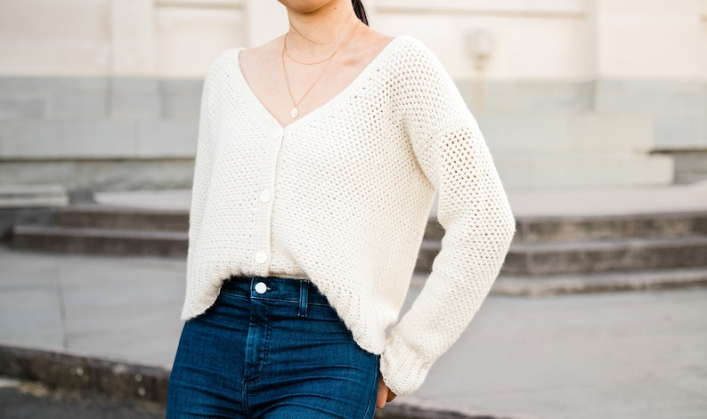 Button Down V-Neck Crochet Cardigan Modern Fall Cropped image 0