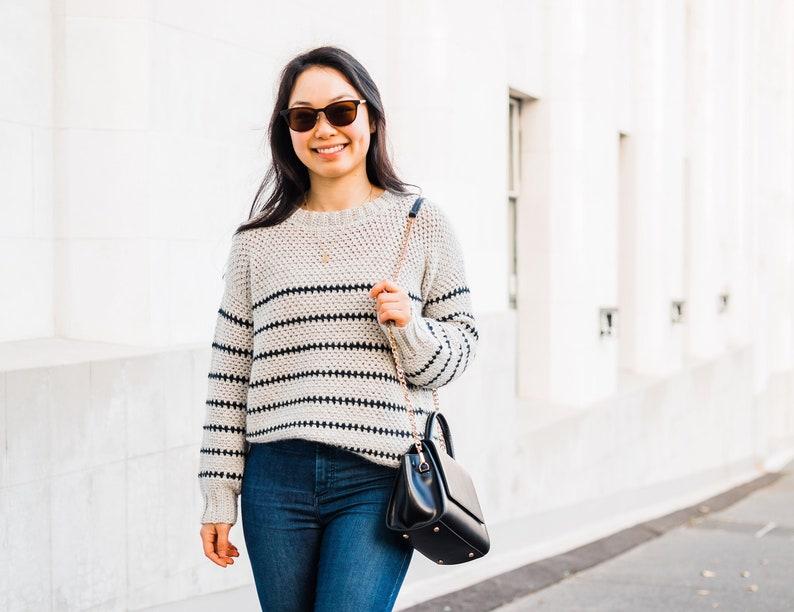 Crochet Cozy Fall sweater // Linen Stitch Jumper // Stripe image 1