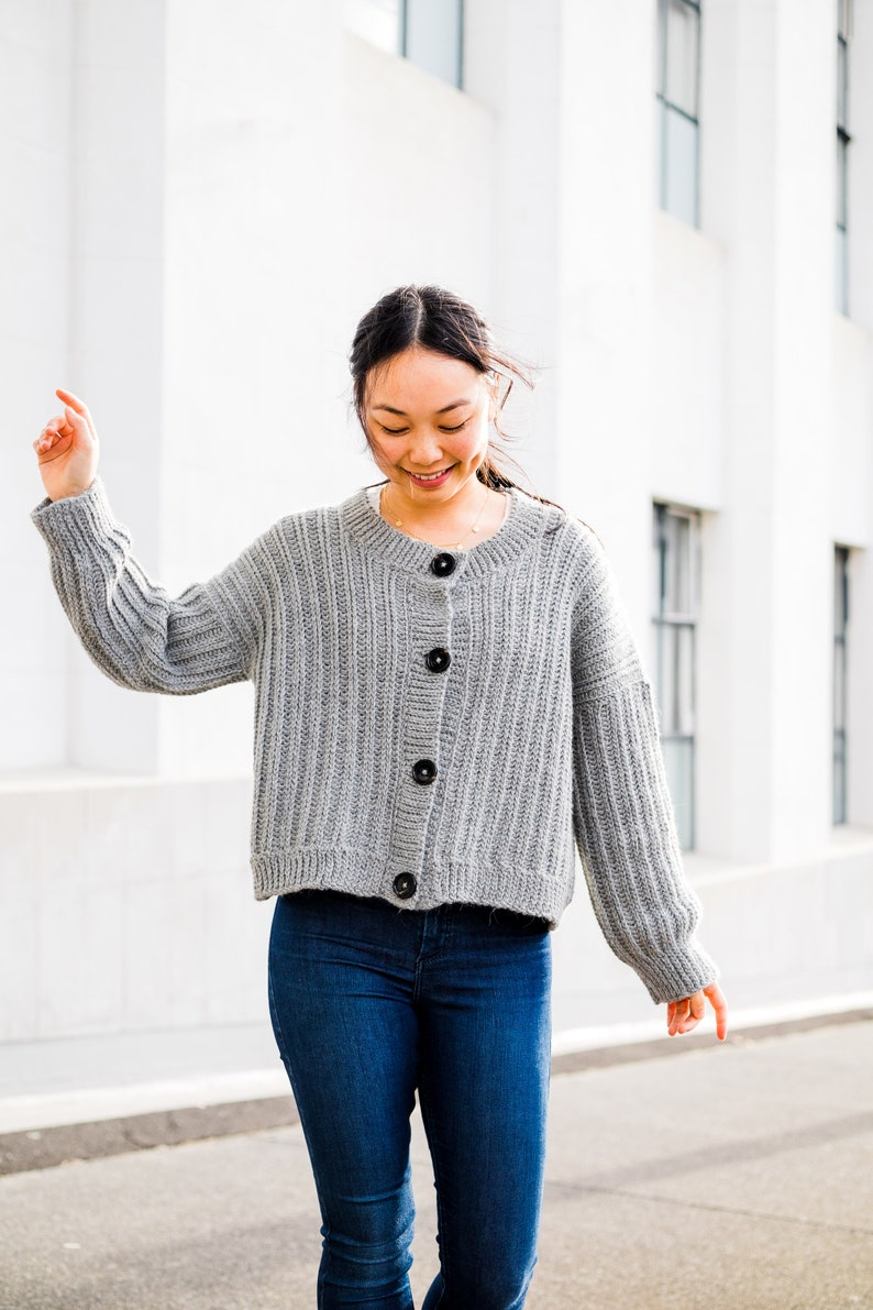 Crochet Ribbed Button Cardigan // Slouchy Oversized Sweater // image 0