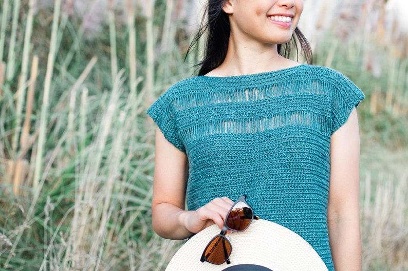 Summer Mesh Top Simple Crochet Tee  Summer Stream Tee  easy image 0