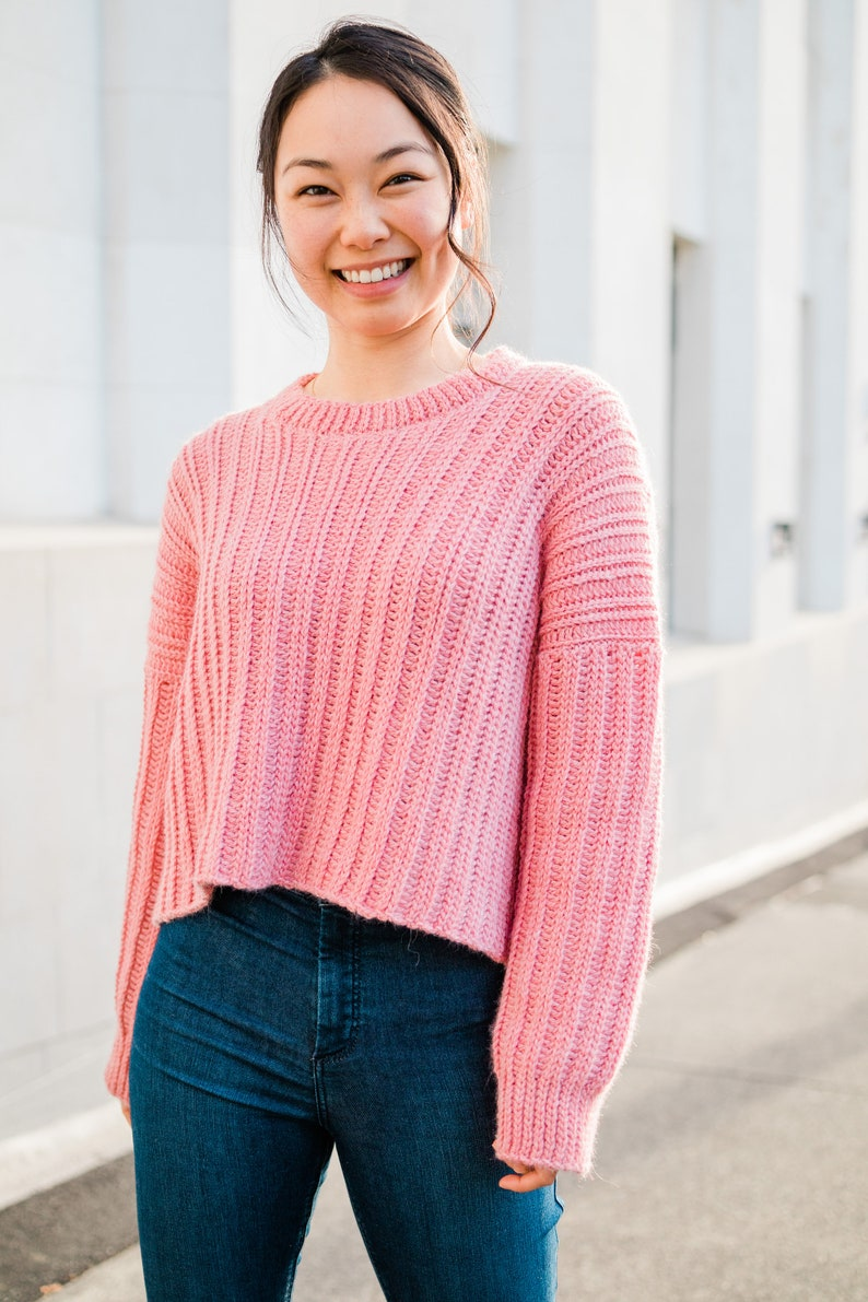 Oversized Ribbed Crochet Sweater // Knit-Look Crochet Pullover image 0