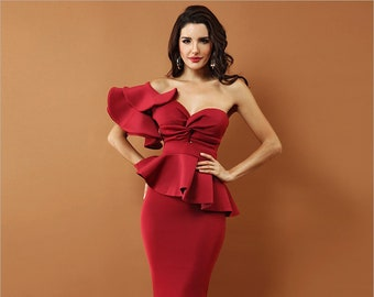 eb62d66fda4 Evening Party Dress Sexy Bodycon Shoulder Ruffles Short Sleeve Strapless Club  Dress Vestidos