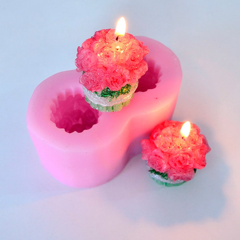 Silicone Soap Candle Mold 3D Flower Shape 2 Holes Chocolate Candy Mould Fondant Cake Decorating Tool