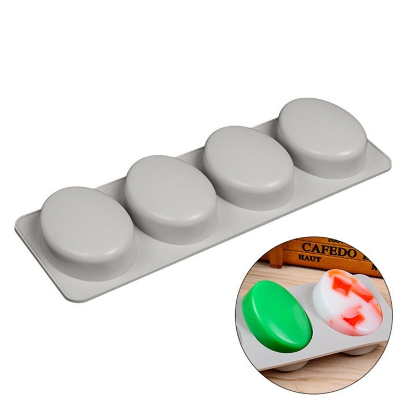 Home Soap Making 4-Cavity Silicone Soap Mold Round Shape
