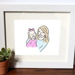 Custom Colorful Watercolor Illustration Family Friends Portrait Digital Printable Drawing Doodle Design Gift Personalized