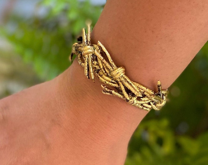 Gold Crown of Grace Leather Cuff | Magnetic Closure | Crown of Thorns | Leather Cuff