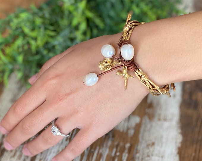 Crown of Grace Bracelet | Crown of Thorns | Leather and Pearl Bracelet | Christian Gift