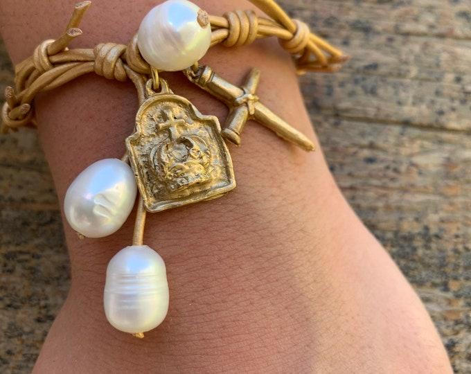The Crown of Grace Bracelet   Tan Gold Metallic Leather   Religious Bracelet   Christian Gift   Holy Spirit   Crown of Thorns