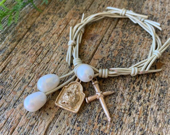 The Crown of Grace Bracelet   Pearls   Soft Silver Metallic Leather   Religious Bracelet   Christian Gift   Holy Spirit   Crown of Thorns