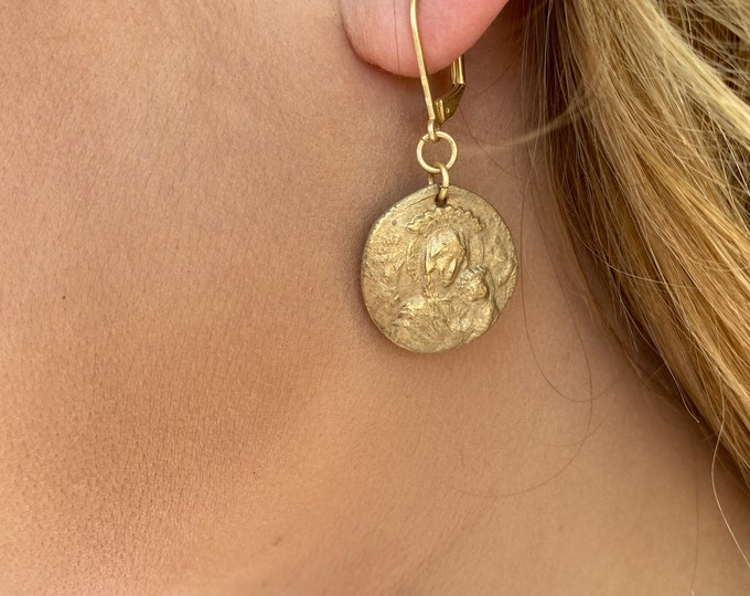 Gold Bronze Earrings   Hand made   Mary and Baby Jesus   Bronze Clay