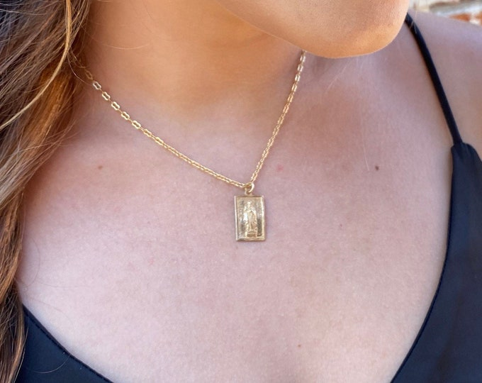 St Jude Necklace   Tiny Necklace   Matte Gold Necklace   Bronze   St Jude of Thaddeus